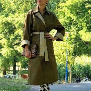 Belted Trench Coat Olive Green Pockets NWT